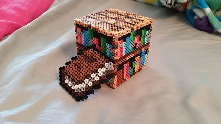 Minecraft Book and Bookshelf perler beads by ALittleKajira on deviantART