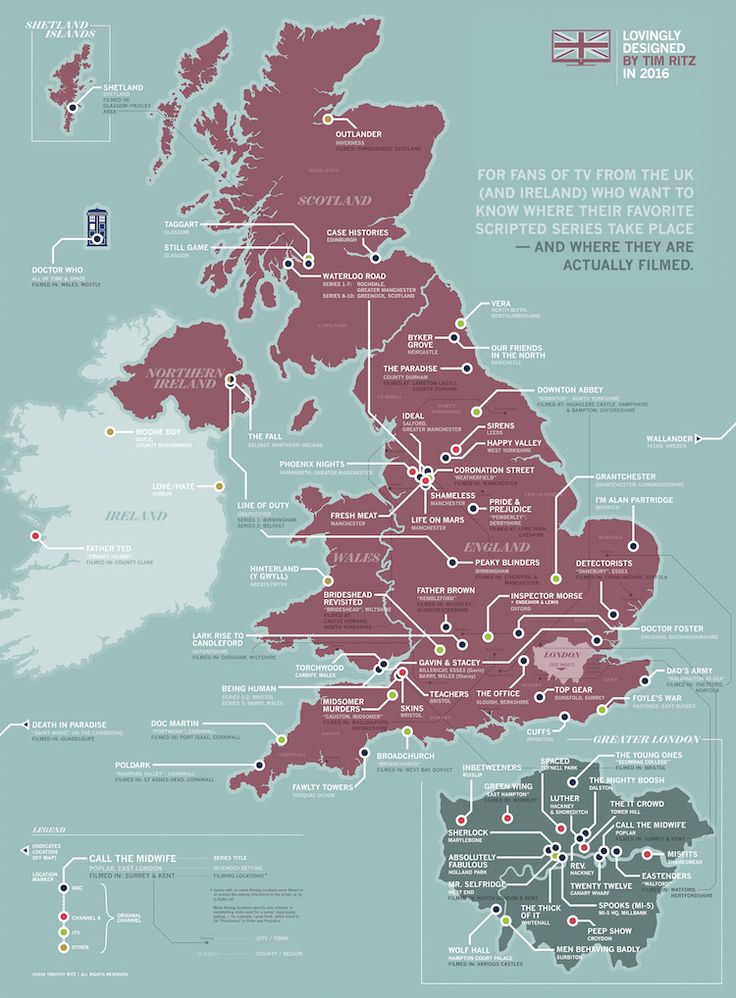 A Detailed Map Showing Where British TV Series Take Place and Are Filmed in the United Kingdom