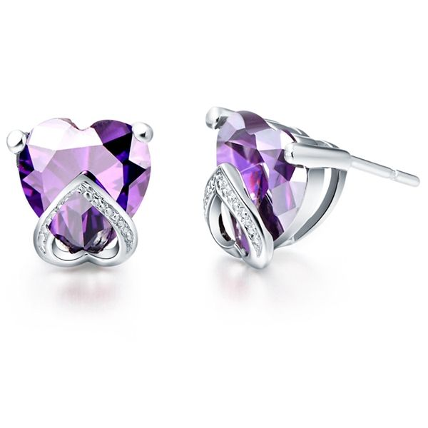 Find More Stud Earrings Information about Heart Crystal Stud Earring Silver 925 Women Rhinestone Earrings Red/Purple Studs Earings Wholesale Free Shipping Ulove R204,High Quality earring posts and backs,China earrings zirconia Suppliers, Cheap earings from ULOVE Fashion Jewelry on Aliexpress.com