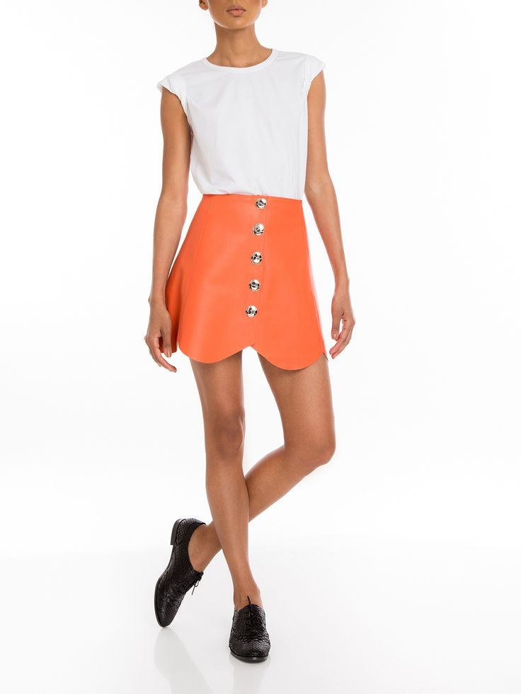 #Manokhi orange leather skirt ,available online now on www.manokhi.com