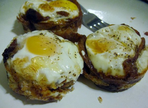 Bacon-wrapped Egg cupcakes (basically a poached egg wrapped with pre-cooked bacon!)