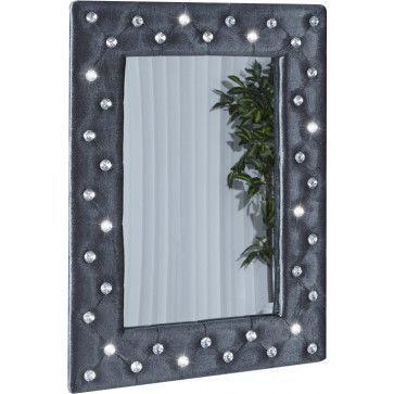 miroir mural capitonn strass design gris pas cher comforiumcom - Miroir Mural Blanc Simili Cuir Strass