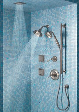 Multiple Spout Shower Heads In Several Angles Bathroom