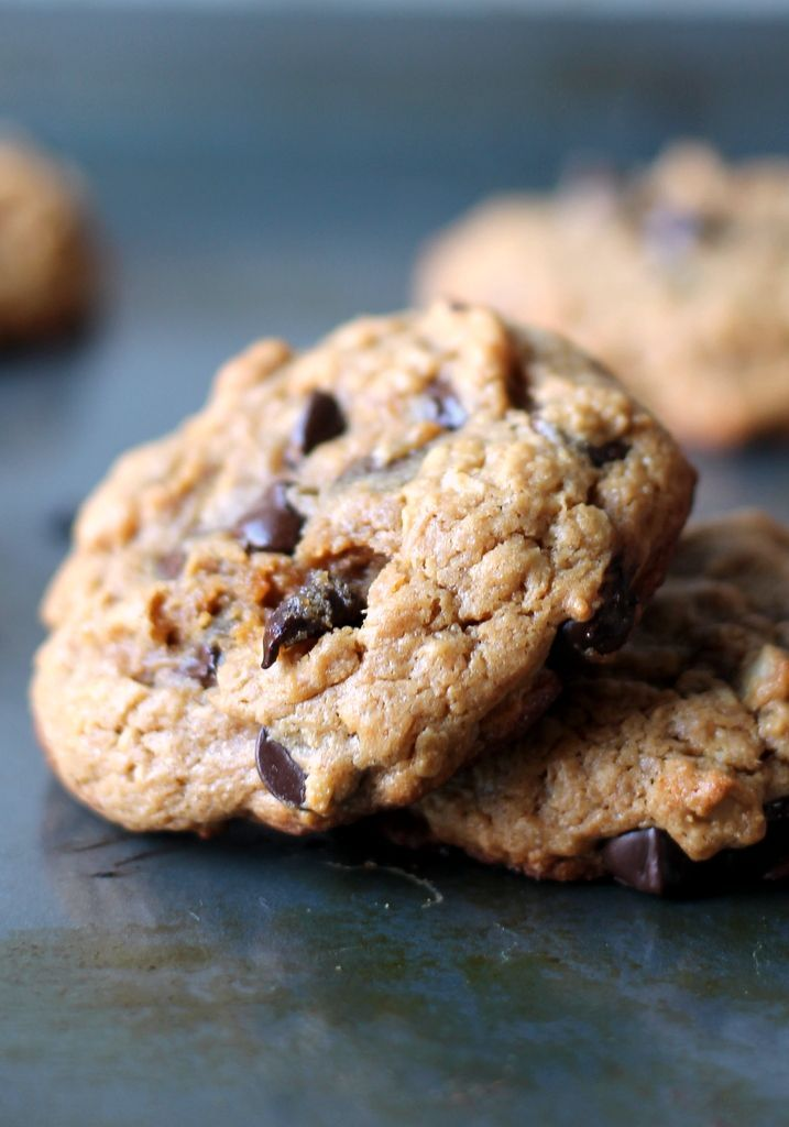 Thick, chewy peanut butter oatmeal chocolate chip cookies made without butter or flour. Delicious!