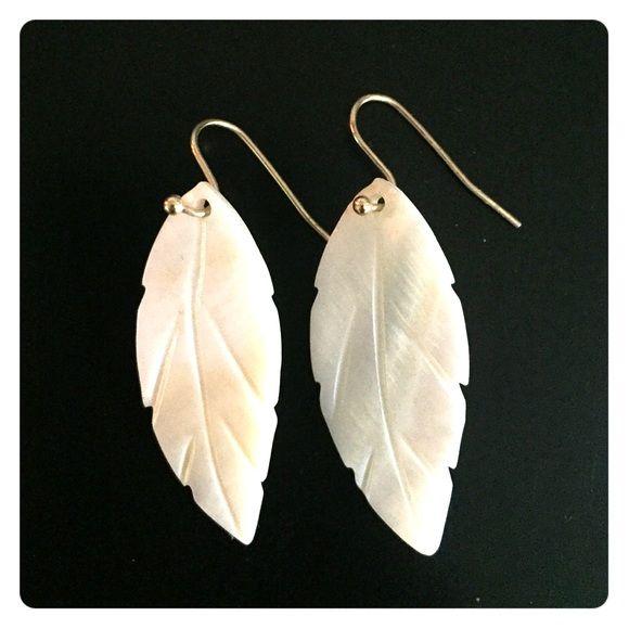 Feather earrings Mother of pearl finish Jewelry Earrings