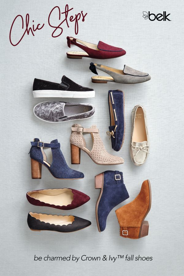 We know you'll be charmed by Crown & Ivy's fall shoe collection, available exclusively at Belk. Pointed-toe flats with bows or scallop detailing, menswear-inspired mules, and chic booties and wedges in colors updated for fall will add preppy style to every outfit, from workwear to weekend looks. Find your perfect pair in stores or at belk.com.