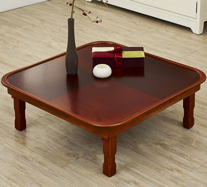 Floor Table Round Traditional Japanese Style Coffee Tea Tatami Low Folding Handmade Asian Floor Table Table Bamboo Furniture