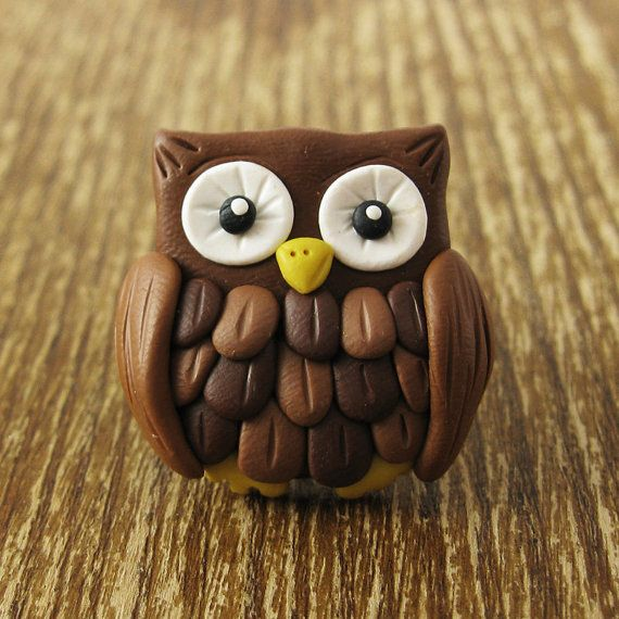 Cute Hoot Owl Polymer Clay Ring by rapscalliondesign on Etsy, $15.00