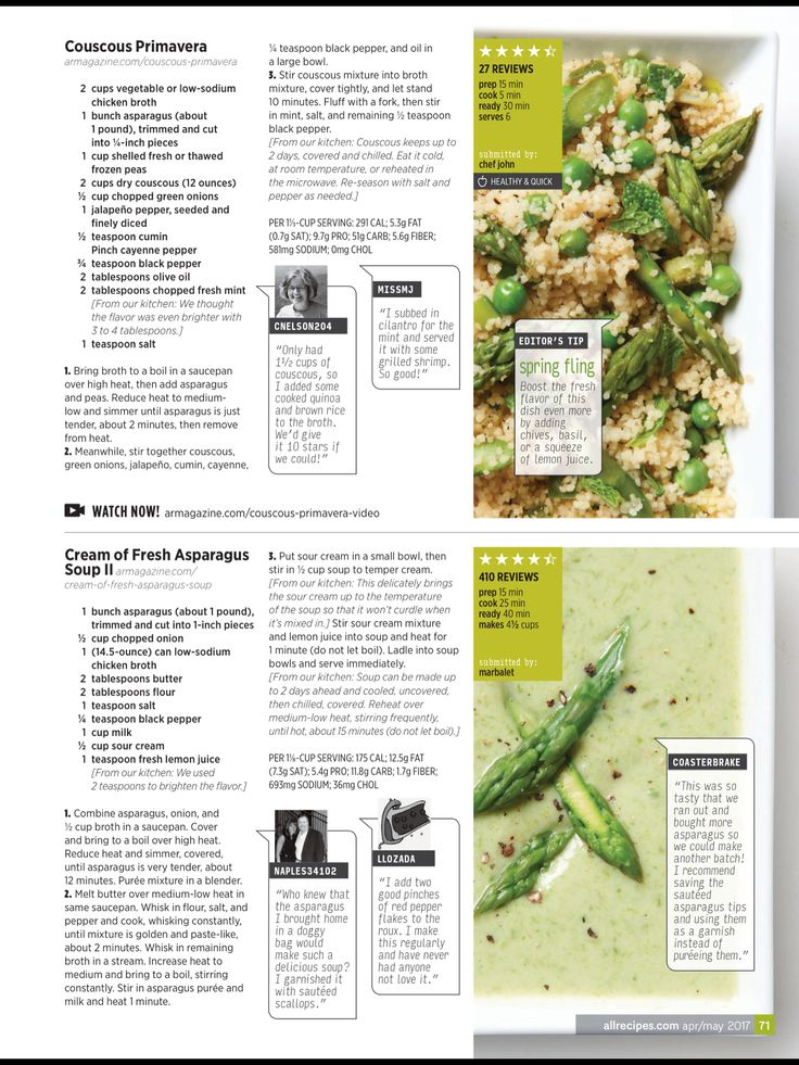 """Inspired spears"" from Allrecipes, April/May 2017. Read it on the Texture app-unlimited access to 200+ top magazines."