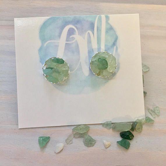 Green Stone Earrings  Green Bridesmaid Earrings  Green
