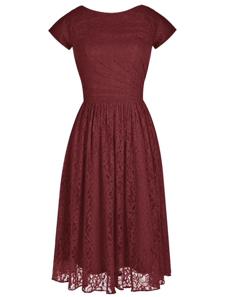 Tideclothes Modern Short Bridesmaid Dress Lace Prom Evening Dress Cap Sleeves Burgundy US2
