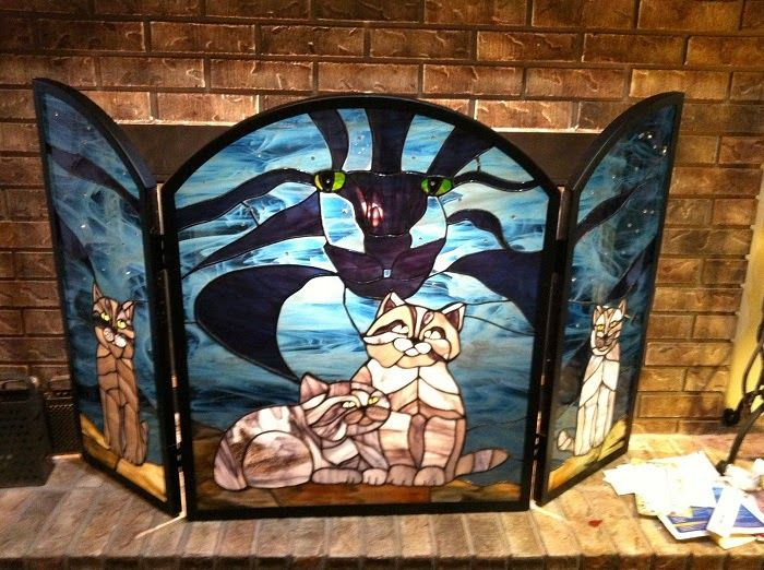 177 best images about stained glass fireplace screens on ...