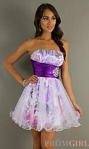 Buy Short Strapless Print Tulle Dress at PromGirl: Shorts Dresses For Graduation, Dresses For Prom Shorts, Shorts Strapless, Purple Prom Dresses Shorts, Prints Tulle, Shorts Dresses Graduation, Grad Dresses, Tulle Dresses, Strapless Prints