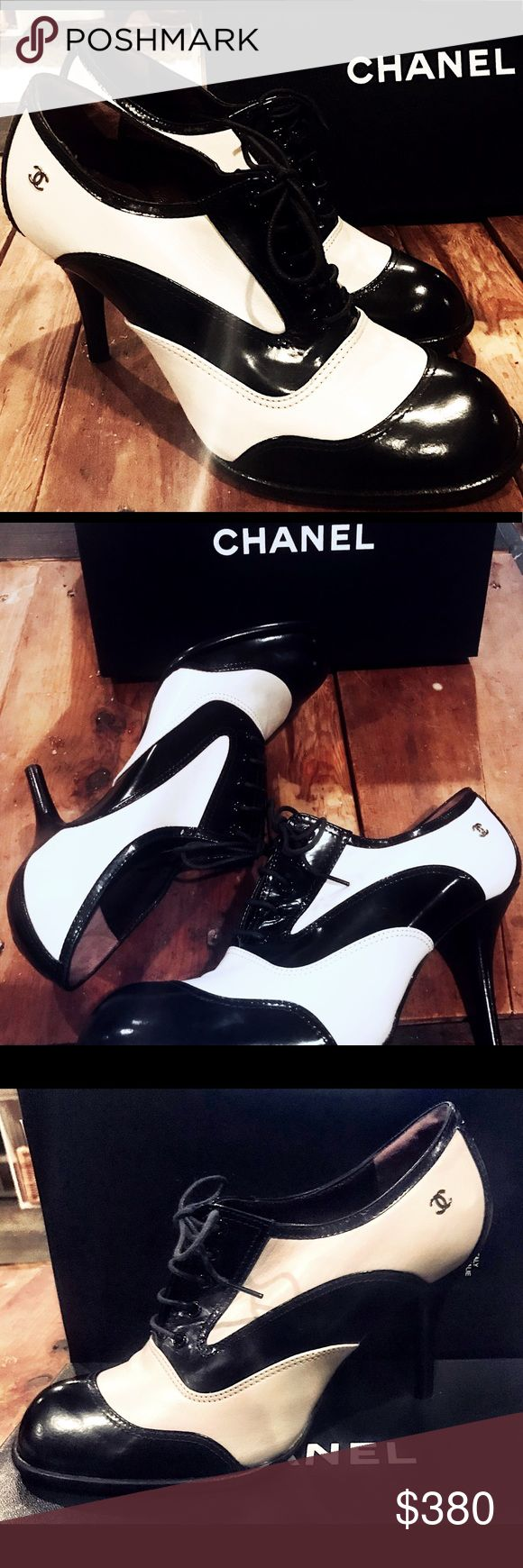 CHANEL Oxford Heeled Pump **Worn Twice! Classic and timeless shoe! Excellent condition, worn twice. A little wear on soles. No scratches stains or marks. Silver CC logo on side of each shoe. Comes in original box with price tag as well as with original heel tip replacements. Size 39 or US 9 CHANEL Shoes Heels