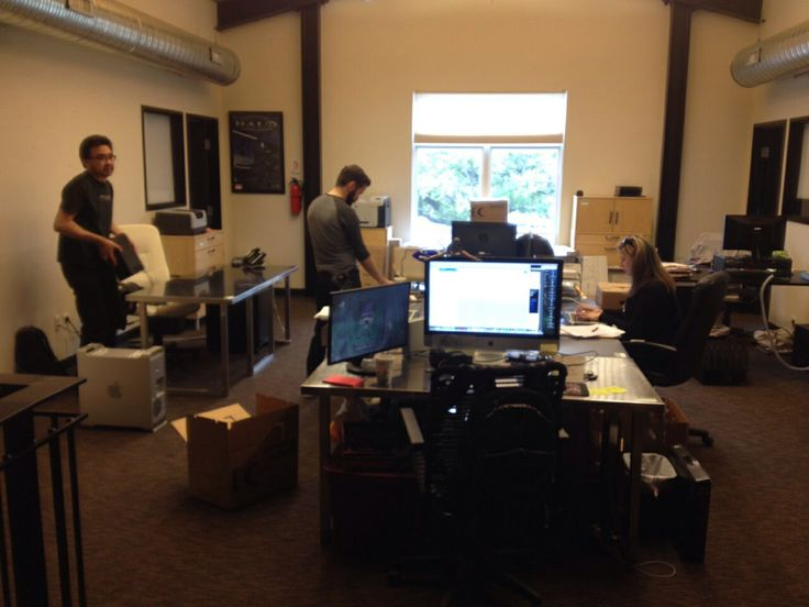 Moving day at rooster teeth offices - on the second floor