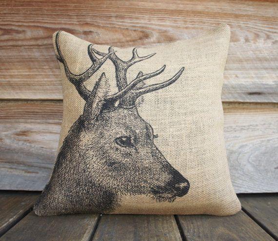 Deer Чехол, Burlap подушки, подушки, Rustic, декоративные подушки Throw, Log Cabin, Woodlands, Accent подушки, черный и бежевый, 16x16
