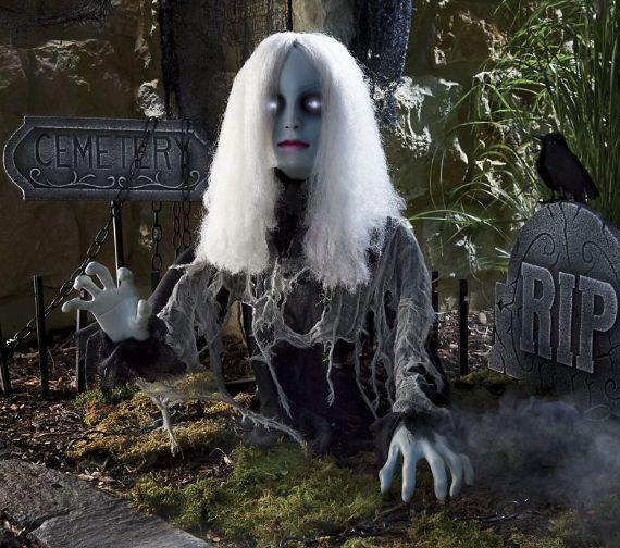 Animated Ghost Girl Halloween Prop Zombie Walking Dead -3642