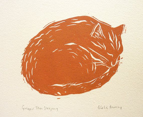 CAT LINOCUT PRINT - Handmade - Ginger Cat - Animal Linocut Illustration Eynhallow Design Etsy
