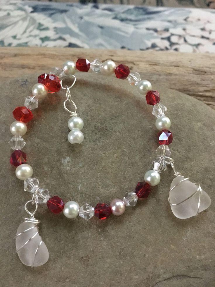 Memory wire bracelet, beach glass memory wire bracelet, beaded memory wire bracelet by TreasuresFromTheLake on Etsy