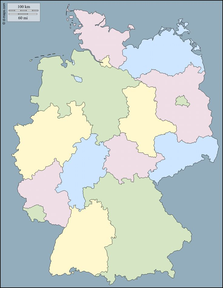 Germany : free map, free blank map, free outline map, free base map : outline, Länder, color