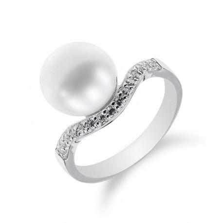 Stříbrný prsten s vlnkou a perlou