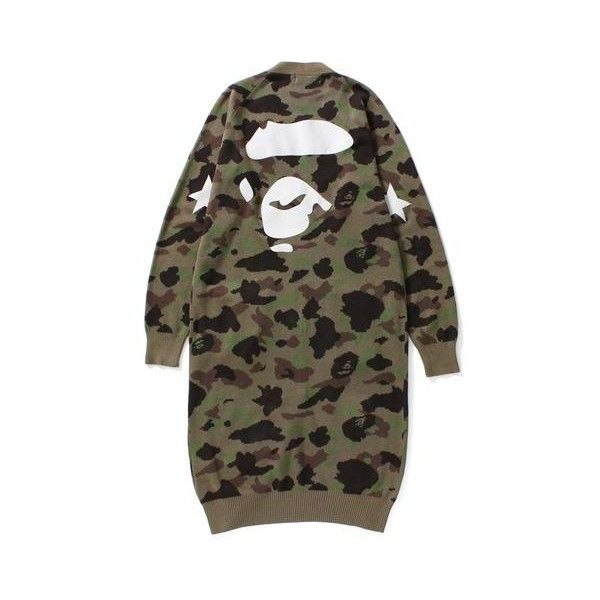 APE FACE 1ST CAMO LONG KNIT CARDIGAN LADIES ($100) ❤ liked on Polyvore featuring tops, cardigans, long cardi, brown knit cardigan, long length cardigan, long knit tops and long tops