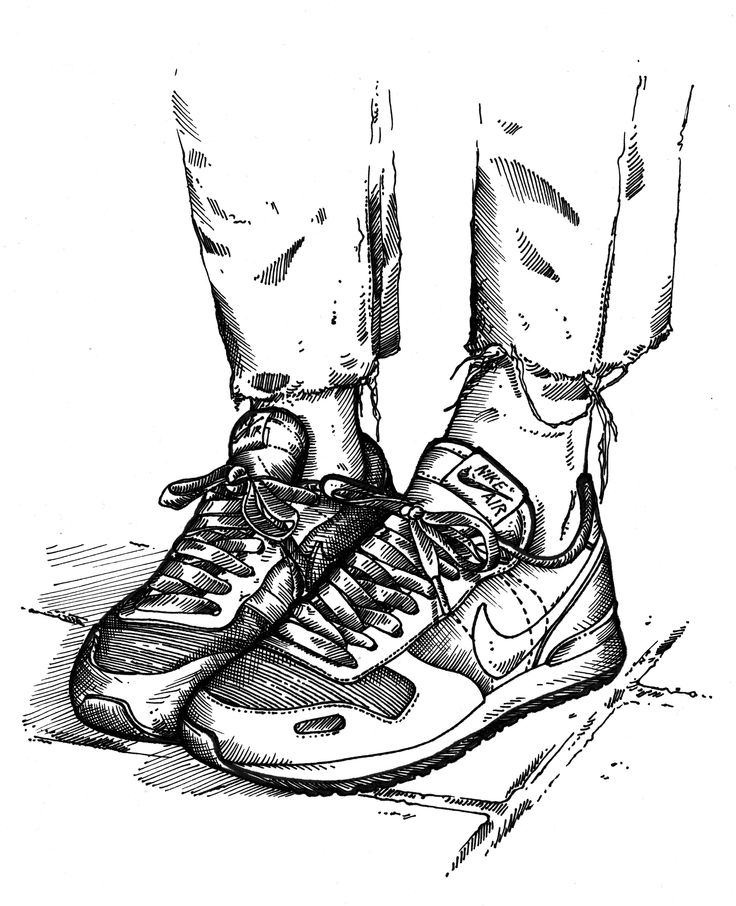 Sneakers on feet illustration.  #girlonkicks #nikeair #womft #illustration