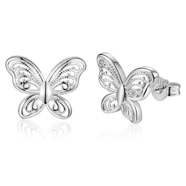 Новый ретро Высокое качество посеребренная ювелирных изделий очарование тенденция Женщины классический бабочка серьги сладкий стиль
