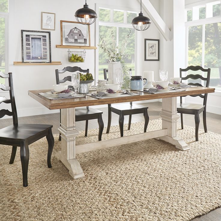Eleanor Two-Tone Rectangular Wood Dining Table by TRIBECCA HOME | Overstock.com Shopping - The Best Deals on Dining Tables