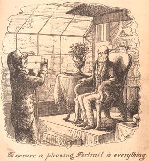 Scanned image: an engraving entitled 'To secure a pleasing portrait is everything' by Cuthbert Bede. A sour-faced man sits in a arm-chair in a studio with glass walls, facing a photographer who is taking his picture.  The Database of 19th Century Photographers and Allied Trades in London: 1841-1901