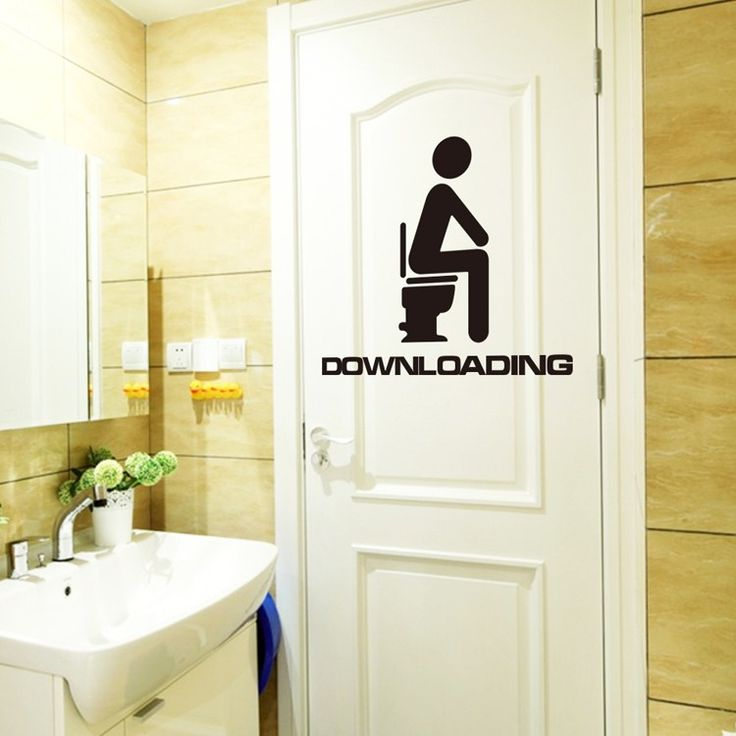 Funny Downloading 15x13cm Bathroom Sticker   Free Worldwide Shipping!  Only $2.89    Order from: www.happycozyhome.com
