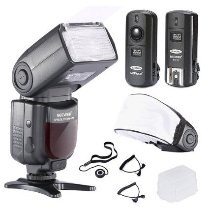 Neewer® Kit de Flash PRO NW670 E-TTL Professionnel pour CANON EOS 700D 650D 600D 1100D 550D 500D 450D 400D 100D 300D 60D 70D Reflex Numérique (DSLR) Kit Comprend 1*Neewer Auto-Focus Flash avec LCD écran + 2.4GHZ Déclencheur sans Fil + 2*Câble (C1-Cordon + C3-Cordon Câble) + Diffuseur de Flash Dur + Diffuseur de Flash Souple + Porte Bouton d'Objectif