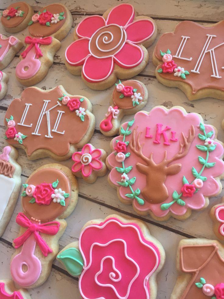 Flora deer themes baby shower cookies by Hayleycakes and cookies in Austin tx