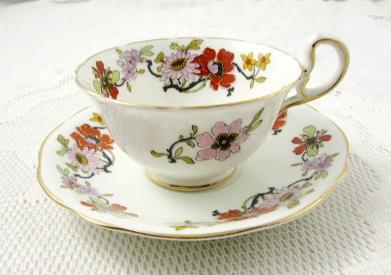 Vintage Aynsley Tea Cup and Saucer with Flower by TheAcreage