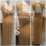 Long Lace Cutout Back Gold Maternity Evening Gown. $99.99