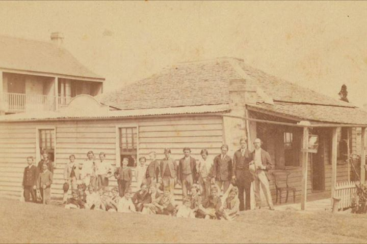 Sampsons School, Newtown, c. 1871, between the fire station and the courthouse hotel.