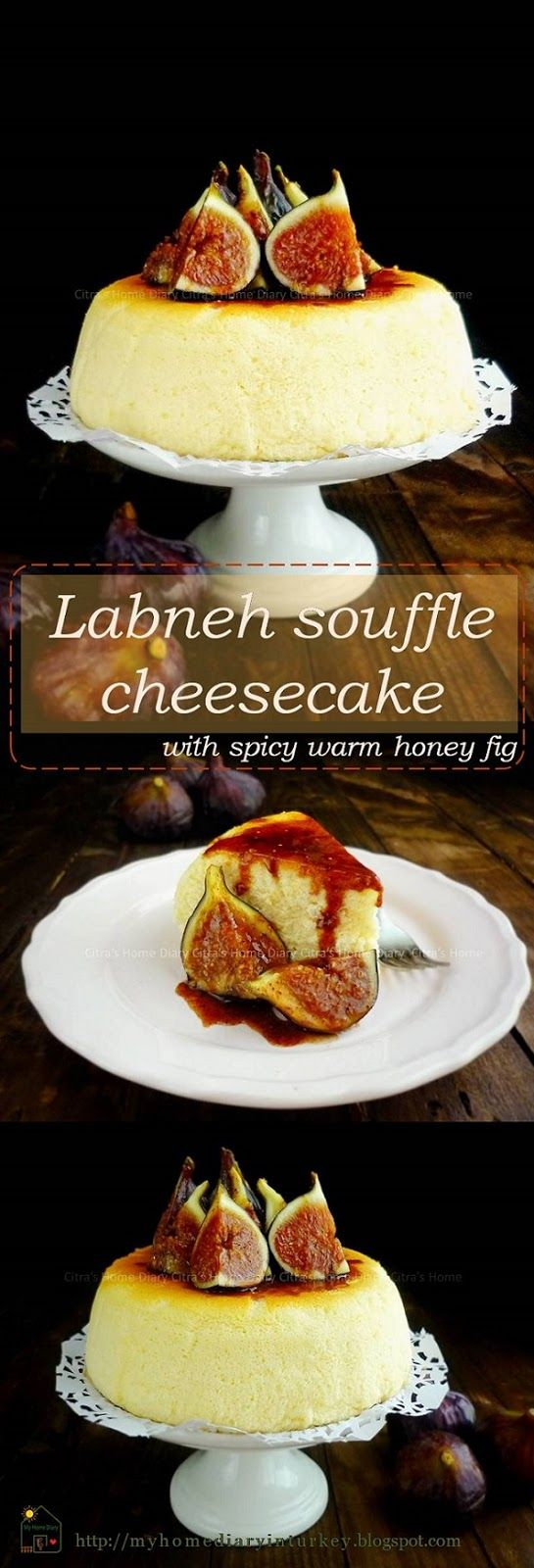 Labneh (strained yogurt) souffle cheesecake with spicy warm honey fig. To get this labneh, you need to drain/ strain plain thick yogurt at least over night or until 24 hour. Keep it inside refrigerator while you drain your yogurt. Use cheese cloth and put on sieve with a bowl for dropping whey underneath. #labneh #creamcheese #healthycreamcheese  #cheesesoufflecake #fig  #spicybakedfig #dessert #soufflecake #citrashomediary #middleeastern #yoghurtdessert