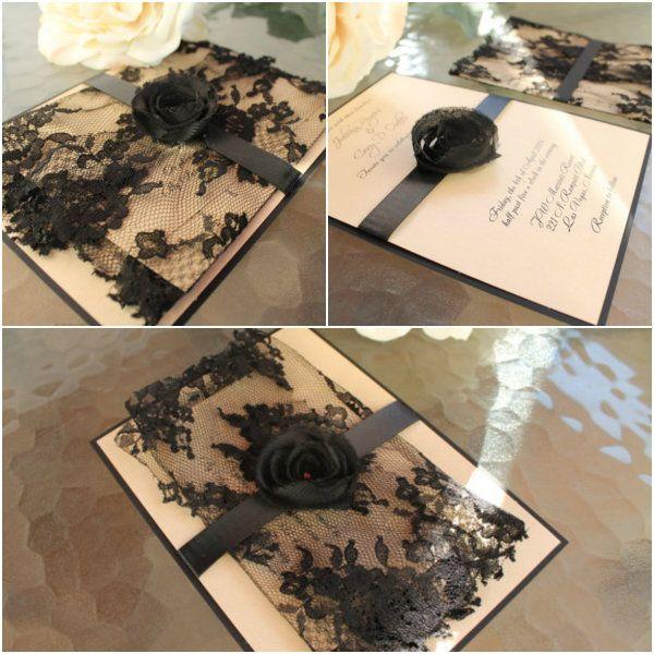 rustikal vintage schwarz Spitze Einladungen zur Hochzeit 2014 Schwarz & Golden & Weiß Hochzeit im Winter Inspiration