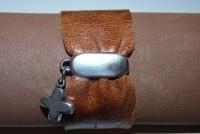 Bracelete de Couro Camel