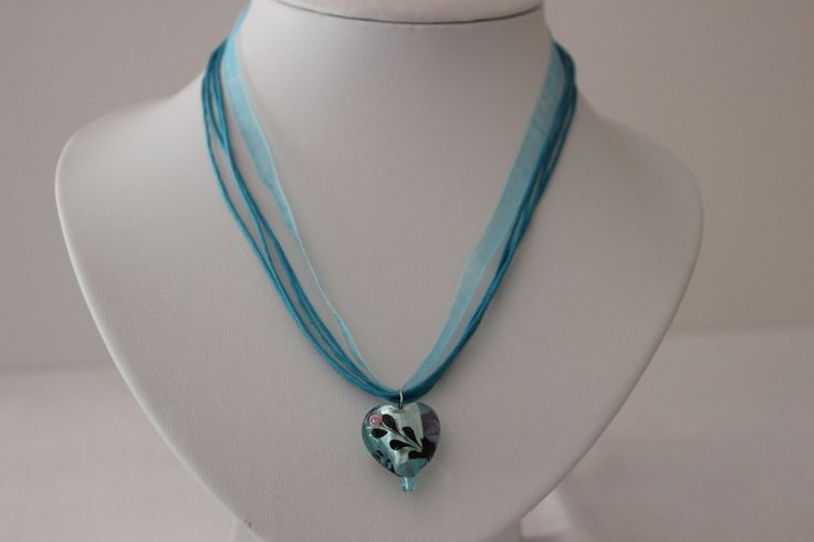 Stolen Rose; Multi stranded Aqua Necklace with Artesian heart pendant by 4Dignity on Etsy