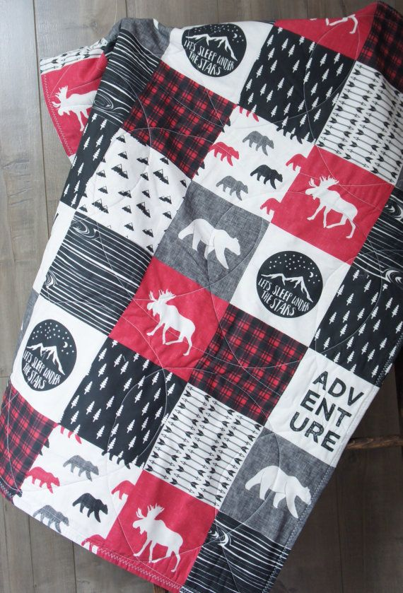 Baby Boy Quilt Baby/Toddler Blanket Woodland Deer by Babylooms