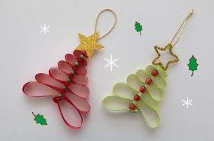 Adornos navideños con cintas - Guía de MANUALIDADES