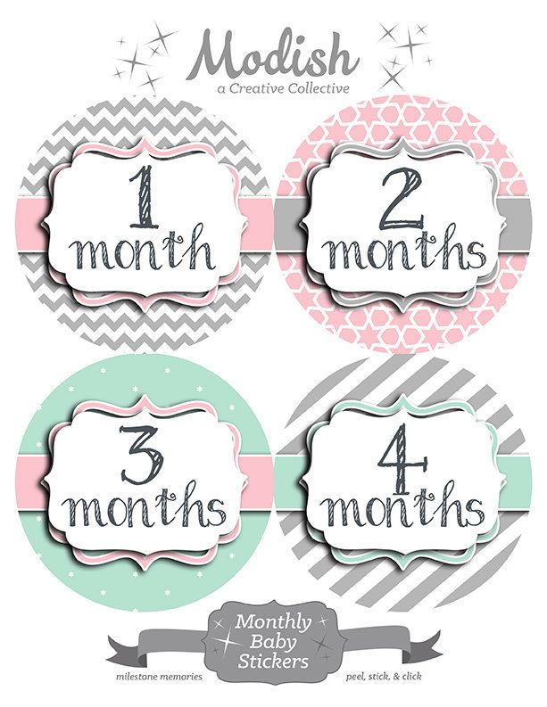 FREE GIFT, Pink Mint Baby Month Stickers, Monthly Baby Stickers Pink Mint Gray, Baby Belly Stickers, Chevron, Pink, Gray, Mint Nursery Decor