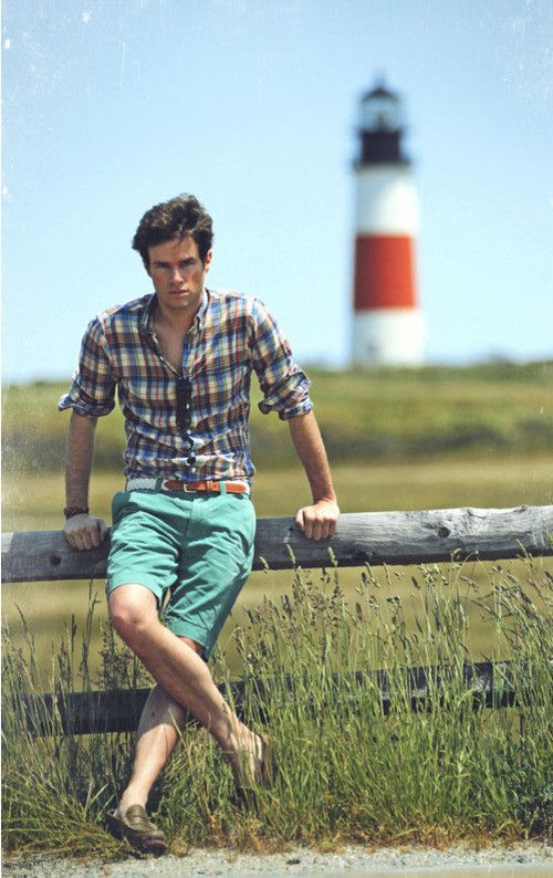 Shop this look for $195:  http://lookastic.com/men/looks/mint-shorts-and-olive-loafers-and-blue-longsleeve-shirt-and-white-belt/124  — Mint Shorts  — Olive Leather Loafers  — Blue Plaid Longsleeve Shirt  — White Woven Belt