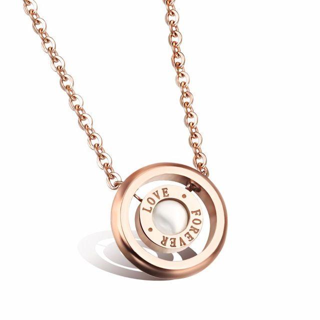 Розовое золото ожерелья для женщины нержавеющая сталь кулон ожерелье w / раковина навсегда влюбленность женщины ожерелье ювелирные изделия GX981