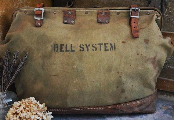 Antique Vintage C 1940 S Bell System Large Canvas
