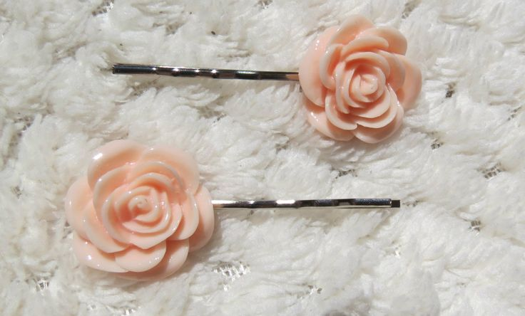 Baby Pink Rose Bobby Pins, FREE POSTAGE Within AUSTRALIA by PrettyLittlePeachs on Etsy