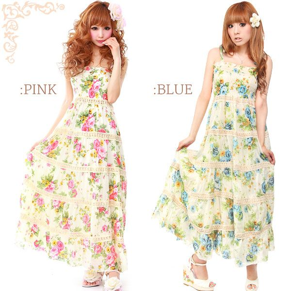 Rakuten: Hit Item!! Lace rose maxis dress- Shopping Japanese products from Japan