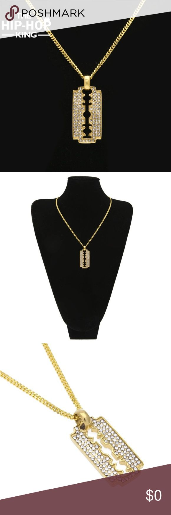 Razor Blade $35 THE HIP HOP KING Razor Blade Necklace.Gold Color Mens Iced Out Rhinestone Pendant Necklace Accessories Jewelry