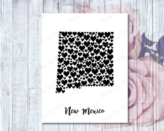 New Mexico printable heart map New Mexico wall by PrettyDigiDesign